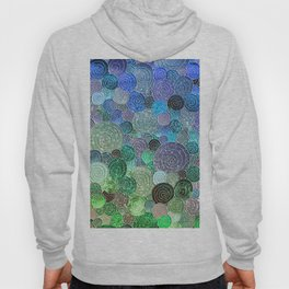 Abstract blue & green glamour glitter circles and polka dots for ladies Hoody