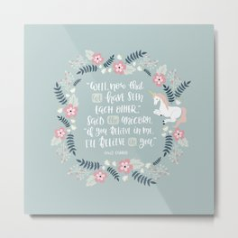 Unicorn - Alice in Wonderland Quote Metal Print