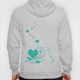 Aquamarine Valentine Hearts On A White Background Hoody