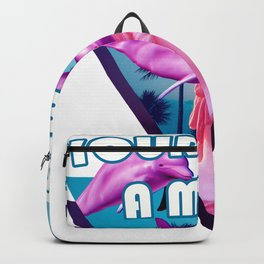 Your Life is a Meme Vaporwave Statue with Palms and Dolphins design Backpack