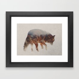 Coyote In The Fog Framed Art Print