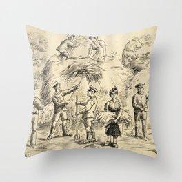 Vintage First World War Art - JM's Sketchbook - Dollieu, Voluntary Help Throw Pillow