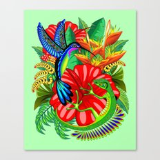 The Lizard, The Hummingbird and The Hibiscus Canvas Print
