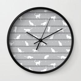 Cats Pattern (Grey) Wall Clock