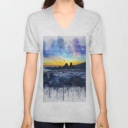 Ocean Sunset Painting Unisex V-Neck