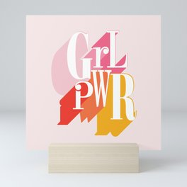 GRL PWR - GIRL POWER, Feminism typography Mini Art Print
