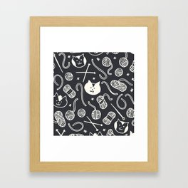 Cats LOVE Yarn! in Grey Framed Art Print