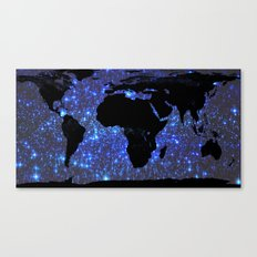 World Map : Blue Galaxy Stars Canvas Print