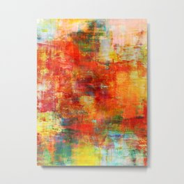 AUTUMN HARVEST - Fall Colorful Abstract Textural Painting Warm Red Orange Yellow Green Thanksgiving Metal Print