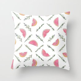Grapefruit and Rosemary Pattern Throw Pillow