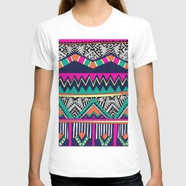 Multicolor tribal background with doodle elements T-shirt