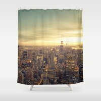 new york skyline Shower Curtains featuring New York Skyline Cityscape by Vivienne Gucwa