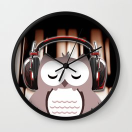 Cartoon Owl Listening to Music Piano Keys Wall Clock
