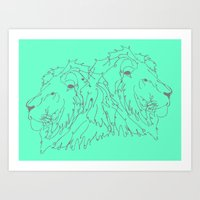 lions Art Prints featuring Lions by LIRO
