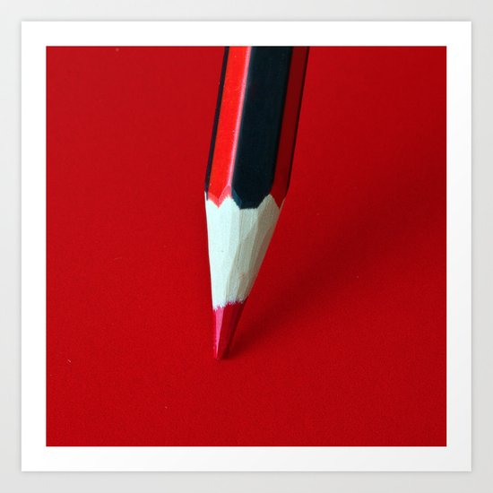 Crayon rouge red Art Print