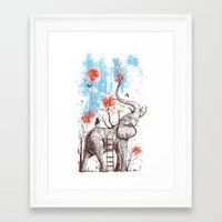 elephants Framed Art Prints featuring A Happy Place by Norman Duenas