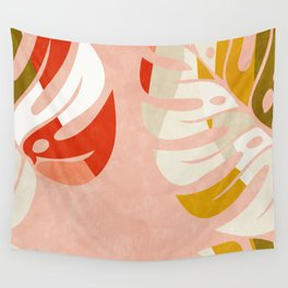 shapes leave minimal abstract art Wall Tapestry