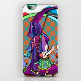 Death takes his rabbit friends to the circus iPhone Skin