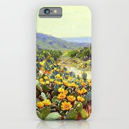 Yellow and Red Cactus Blossoms in the Desert Landscape painting by Robert Julian Onderdonk iPhone Case