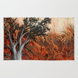 Red Abstract Landscape - orange red print  Rug