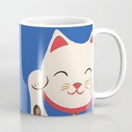 Blue Lucky Cat Maneki Neko Coffee Mug