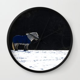White horse and snow Wall Clock