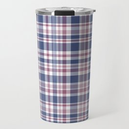 The checkered pattern . Scottish . Blue, red ,white . Travel Mug