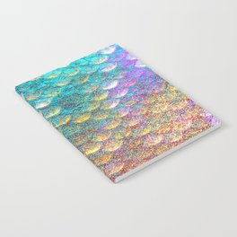 Aqua and Gold Mermaid Scales Notebook