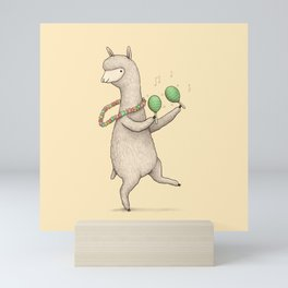 Alpaca on Maracas Mini Art Print