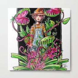 Gardening Witch Metal Print