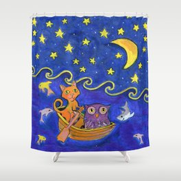 Owl and Pussycat rowed at night Shower Curtain
