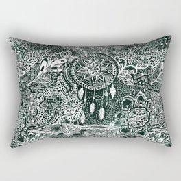 Modern dark green forest watercolor Christmas dream catcher floral doodles Rectangular Pillow