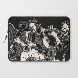 Bop Quintet Jazz Musician Black and White Block Print Laptop Sleeve