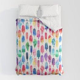 Rainbow Watercolor Popsicles Ice Cream Cones Comforters