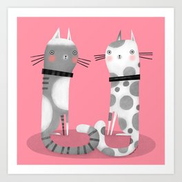 CATS ON PINK Art Print