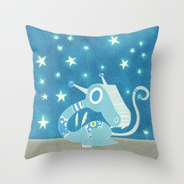 Blue Dragonie Throw Pillow