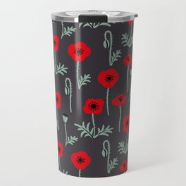 Red poppy flower pattern Travel Mug