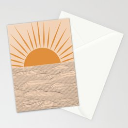 Modern abstract aesthetic background with sun and sea waves, sunset and sunrise illustration Stationery Cards