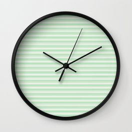 Pastel Green Horizontal Line Pattern 2 on Linen White Pairs to 2020 Color of the Year Neo Mint Wall Clock