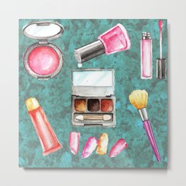 Makeup Kit with Textured Turquoise Background Metal Print
