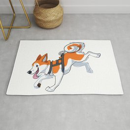 Orange Husky Running Rug