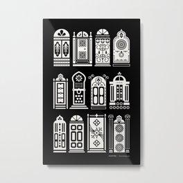 Moroccan Doors – White Ink on Black Metal Print