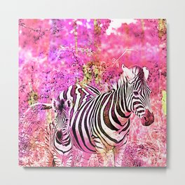 Crazy Zebras Artsy Mixed Media Art Metal Print