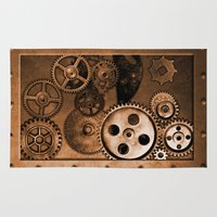 steam punk Area & Throw Rugs featuring Steam Punk Gears by GrimDork