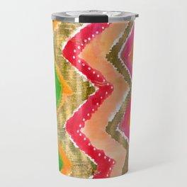 Shocking Pink & Gold Ikat Travel Mug