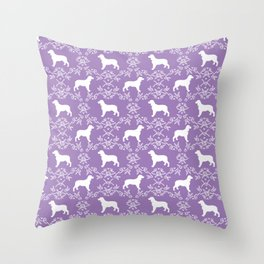 English Springer Spaniel dog breed floral pet portraits dog silhouette dog pattern Throw Pillow