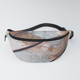 It's Raining! Beautiful Abstract Photography of Rain Falling on Redwood Deck Fanny Pack
