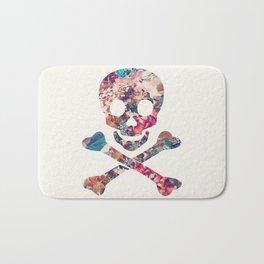 Pink Teal Vintage Floral Pattern Skull Cross Bones Bath Mat