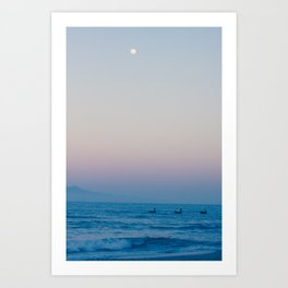Boats, Ocean, Mountains and the Moon Art Print