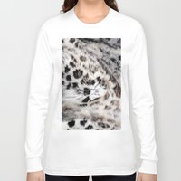 snow leopard Long Sleeve T-shirts featuring Snow Leopard by Moody Muse